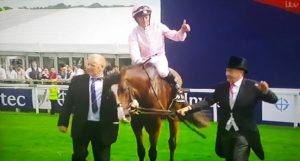 Seamie Heffernan celebrates his Investec Derby win on Anthony Van Dyke.