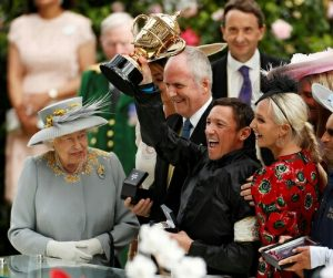 Frankie Dettori with HM The Queen at Royal Ascot 2019.