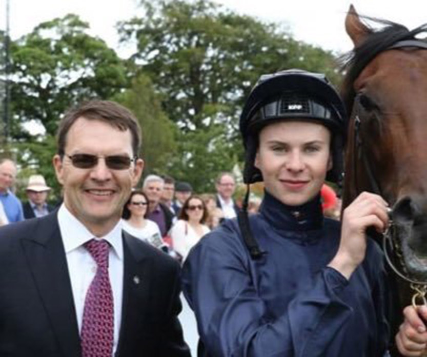 Former jockey turned trainer Joseph O'Brien (right) with his father Aidan, saddles Us And Them (2.25) Cheltenham.