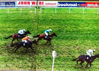 Gordalan and Tommy Dowson stay on for third place at Sedgefield, on his hurdling debut.