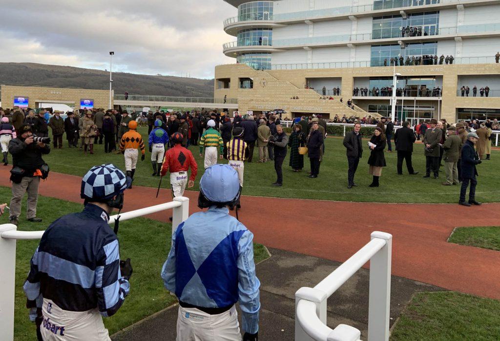 Jockeys head for the ring at Cheltenham
