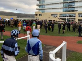 Jockeys head for the ring at Cheltenham