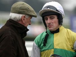 Mick Meager chatting to jockey Brian Hughes