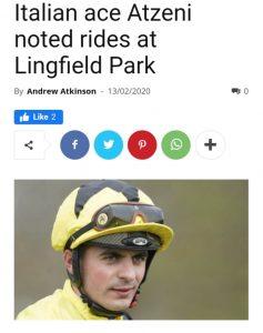 Andrea Atzeni winning-treble tips at Lingfield Park.