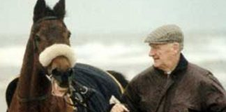 Aintree Grand National legends: Red Rum and Ginger McCain on Southport beach.